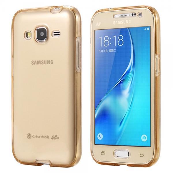 Husa Full TPU 360 (fata + spate) pentru Samsung Galaxy J5, Gold Transparent 0