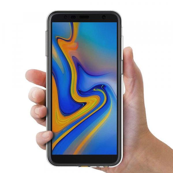 Husa Full TPU 360 fata + spate pentru Samsung Galaxy J6 Plus (2018), Gri Transparent 3