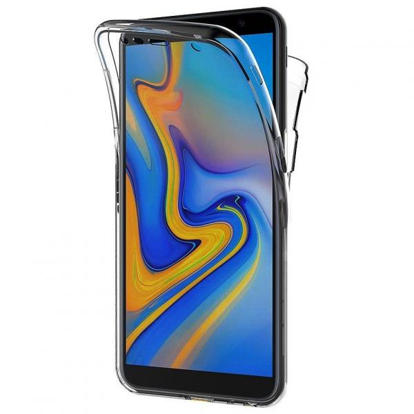 Husa Full TPU 360 fata + spate pentru Samsung Galaxy J6 Plus (2018), Gri Transparent 0