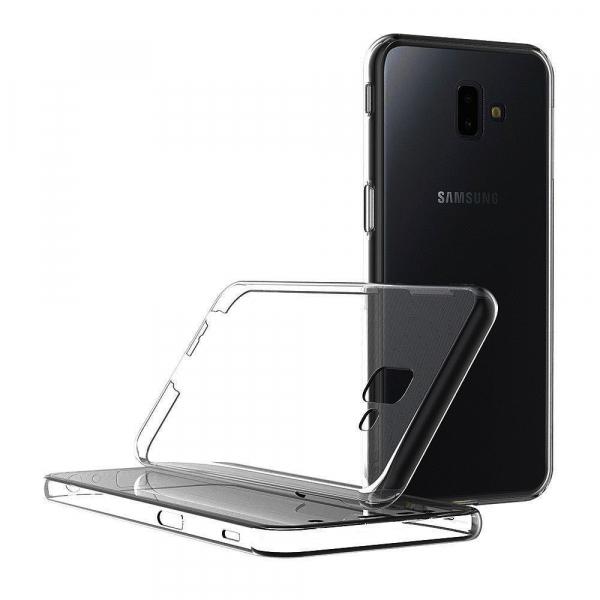 Husa Full TPU 360 fata + spate pentru Samsung Galaxy J6 Plus (2018), Gri Transparent 1