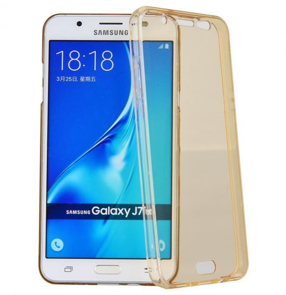 Husa Full TPU 360 (fata + spate) pentru Samsung Galaxy J7 (2016), Gold Transparent 0