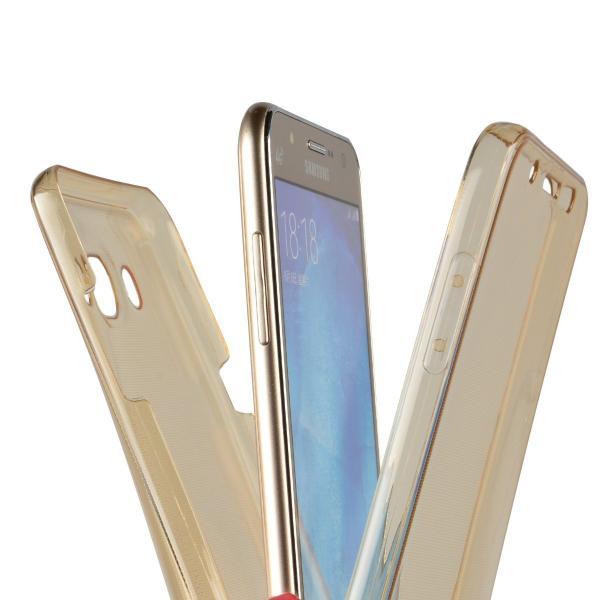 Husa Full TPU 360 (fata + spate) pentru Samsung Galaxy J7 (2016), Gold Transparent 2