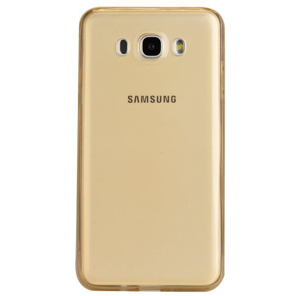 Husa Full TPU 360 (fata + spate) pentru Samsung Galaxy J7 (2016), Gold Transparent 1