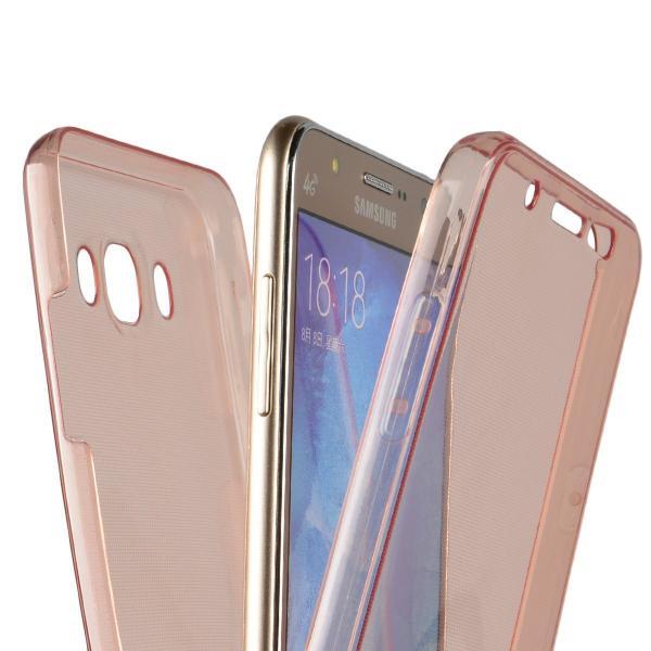 Husa Full TPU 360 (fata + spate) pentru Samsung Galaxy J7 (2016), Rose Gold Transparent 1