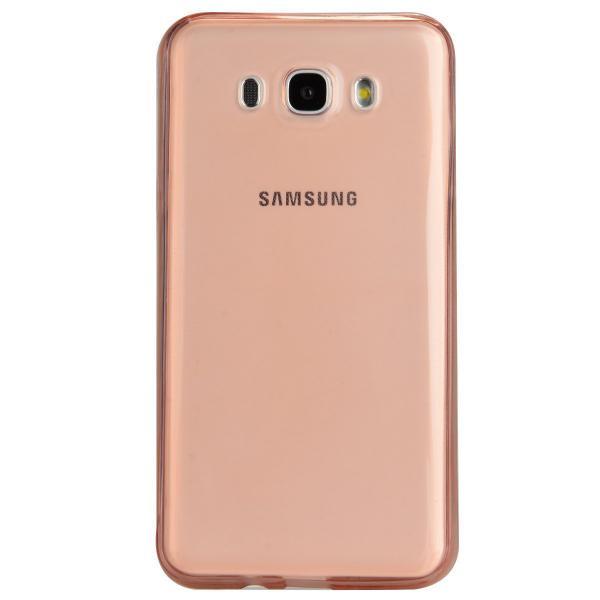 Husa Full TPU 360 (fata + spate) pentru Samsung Galaxy J7 (2016), Rose Gold Transparent 2