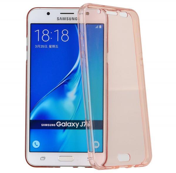 Husa Full TPU 360 (fata + spate) pentru Samsung Galaxy J7 (2016), Rose Gold Transparent 0