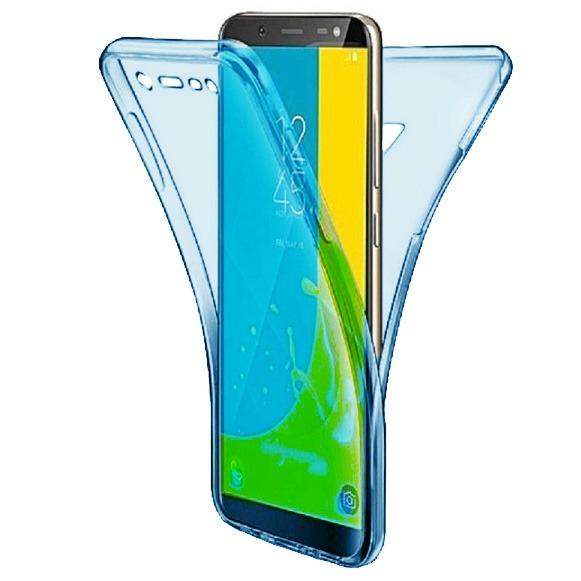 Husa Full TPU 360 fata + spate pentru Samsung Galaxy J8 (2018), Albastru Transparent 0