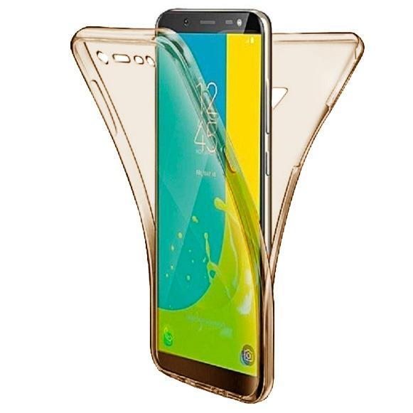 Husa Full TPU 360 fata + spate pentru Samsung Galaxy J8 (2018), Gold Transparent 0