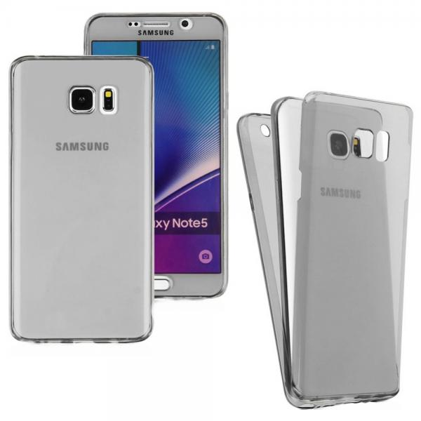 Husa Full TPU 360 (fata + spate) pentru Samsung Galaxy Note 5, Gri Transparent
