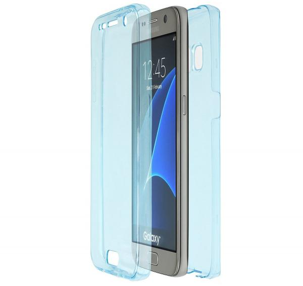 Husa Full TPU 360 (fata + spate) pentru Samsung Galaxy S6, Albastru transparent 0