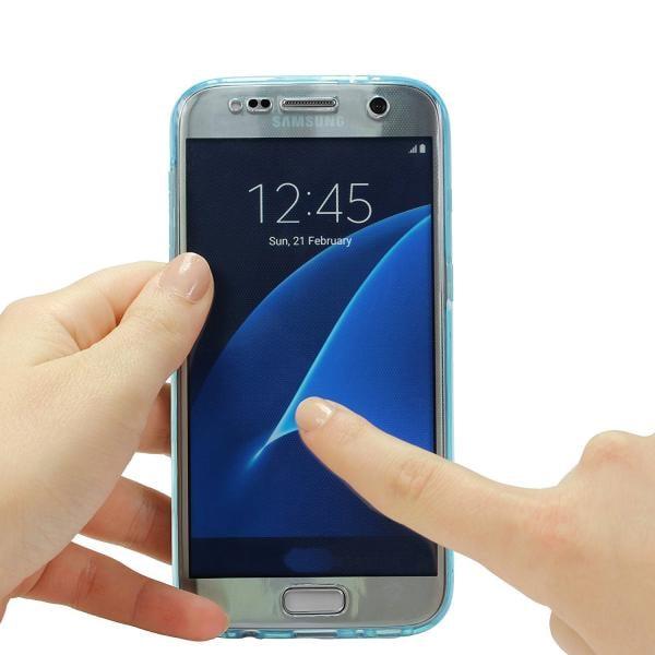 Husa Full TPU 360 (fata + spate) pentru Samsung Galaxy S6, Albastru transparent 1