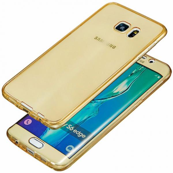Husa Full TPU 360 (fata + spate) pentru Samsung Galaxy S6 Edge, Gold Transparent [0]