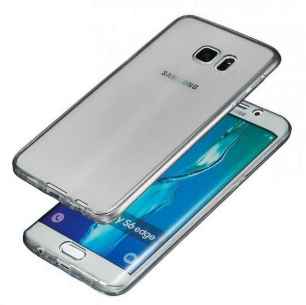 Husa Full TPU 360 (fata + spate) pentru Samsung Galaxy S6 Edge, Gri Transparent 0