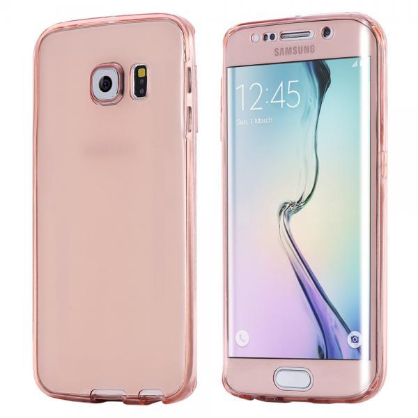 Husa Full TPU 360 (fata + spate) pentru Samsung Galaxy S6 Edge Plus, Rose Gold Transparent