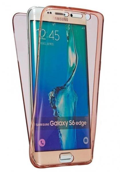 Husa Full TPU 360 (fata + spate) pentru Samsung Galaxy S6 Edge, Rose gold transparent 0