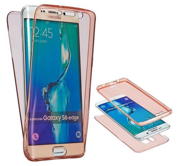 Husa Full TPU 360 (fata + spate) pentru Samsung Galaxy S6 Edge, Rose gold transparent
