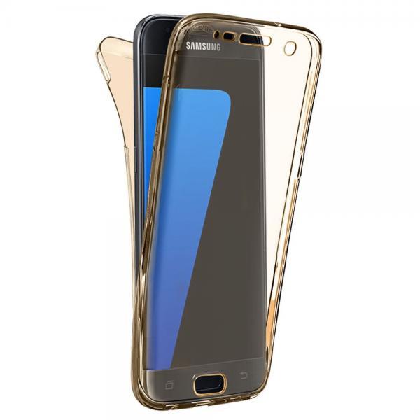 Husa Full TPU 360 (fata + spate) pentru Samsung Galaxy S6, Gold Transparent 0