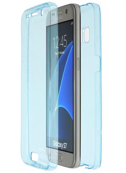 Husa Full TPU 360 (fata + spate) pentru Samsung Galaxy S7, Albastru Transparent 0