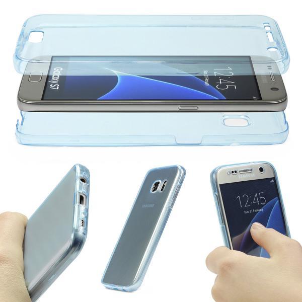 Husa Full TPU 360 (fata + spate) pentru Samsung Galaxy S7, Albastru Transparent 1