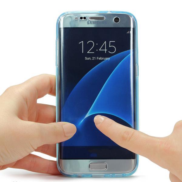 Husa Full TPU 360 (fata + spate) pentru Samsung Galaxy S7 Edge, Albastru transparent 3