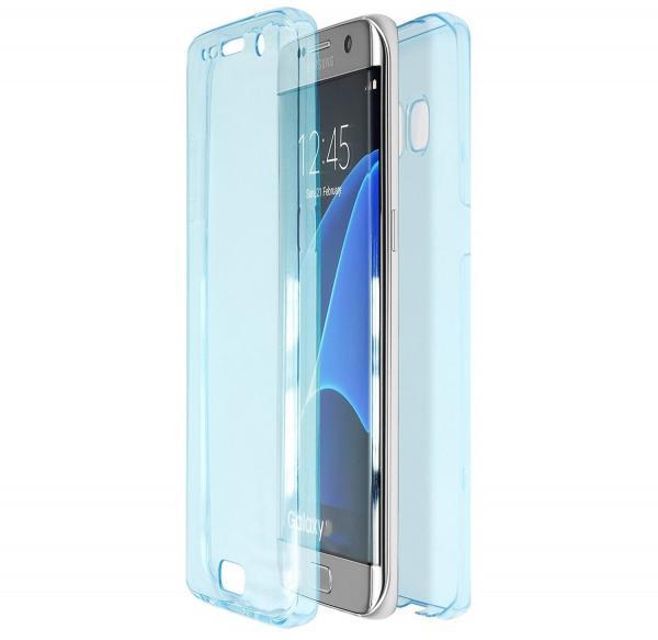 Husa Full TPU 360 (fata + spate) pentru Samsung Galaxy S7 Edge, Albastru transparent 0