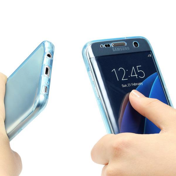 Husa Full TPU 360 (fata + spate) pentru Samsung Galaxy S7 Edge, Albastru transparent 1