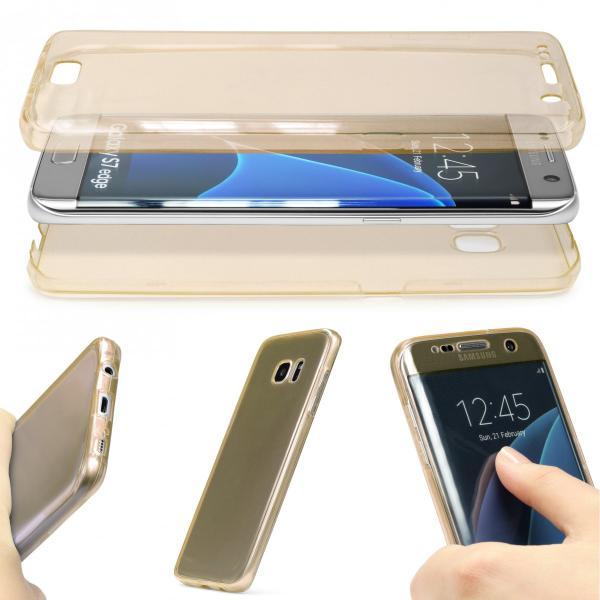Husa Full TPU 360 (fata + spate) pentru Samsung Galaxy S7 Edge, Gold Transparent [1]
