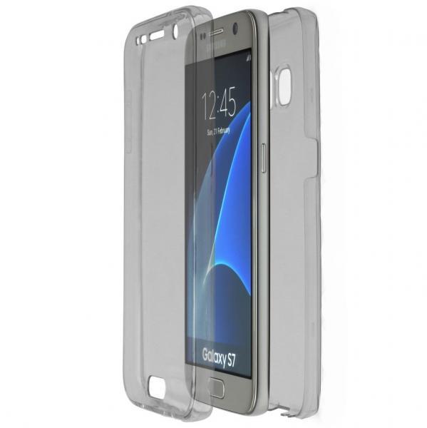Husa Full TPU 360 (fata + spate) pentru Samsung Galaxy S7, Gri transparent 0