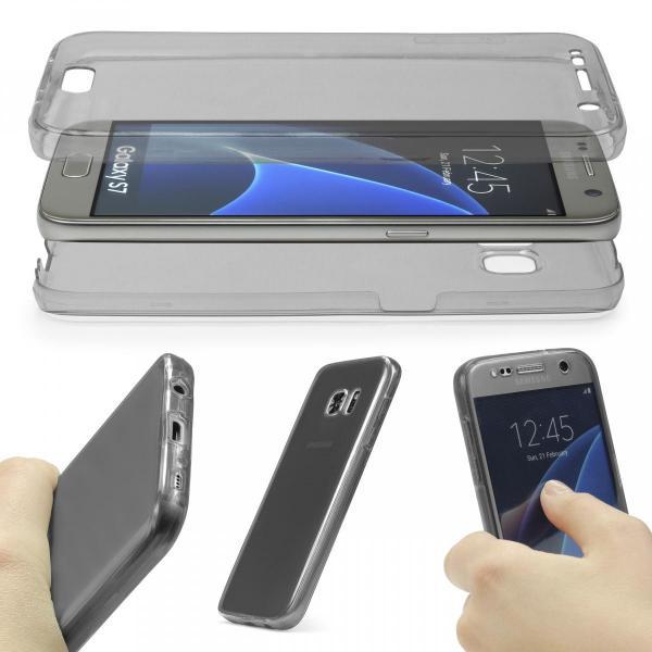 Husa Full TPU 360 (fata + spate) pentru Samsung Galaxy S7, Gri transparent 1