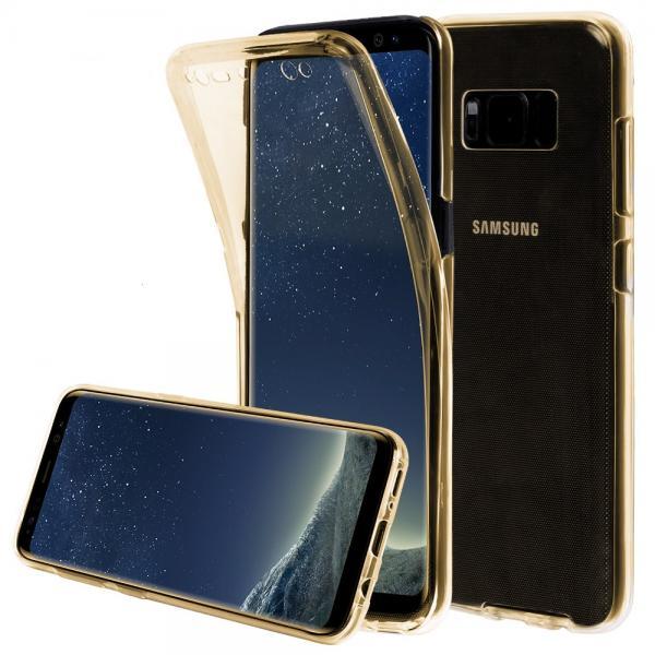 Husa Full TPU 360 (fata + spate) pentru Samsung Galaxy S8 Plus, Gold Transparent 0