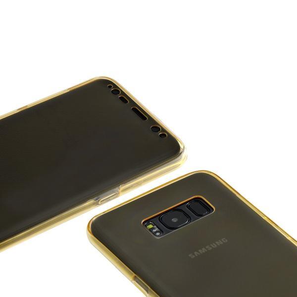 Husa Full TPU 360 (fata + spate) pentru Samsung Galaxy S8 Plus, Gold Transparent 3