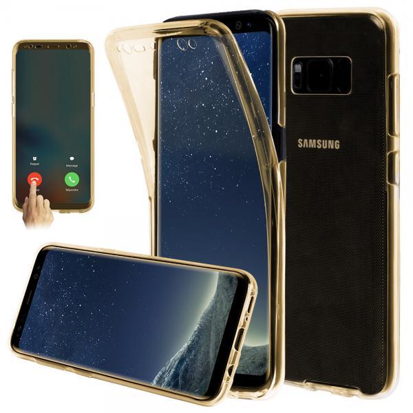 Husa Full TPU 360 (fata + spate) pentru Samsung Galaxy S8 Plus, Gold Transparent 1