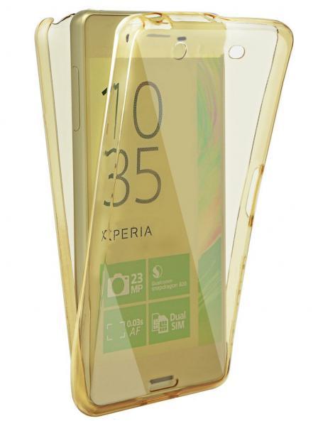 Husa Full TPU 360 (fata + spate) pentru Sony Xperia X, Gold transparent 0