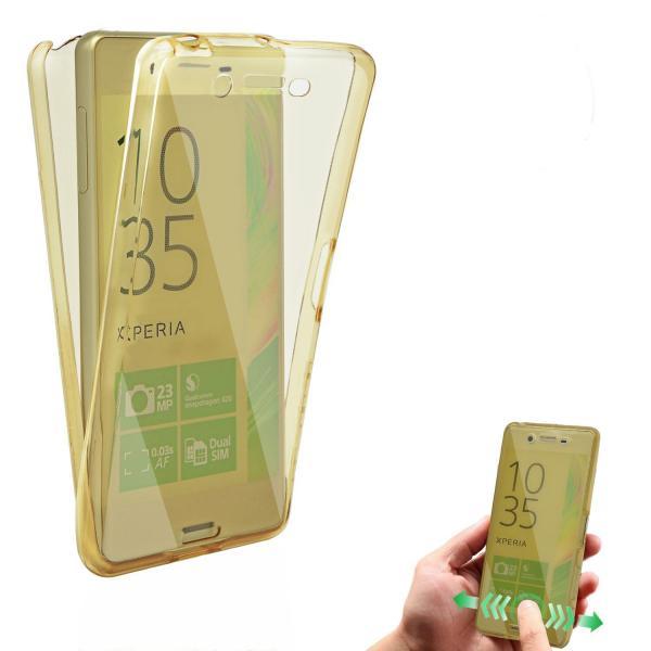 Husa Full TPU 360 (fata + spate) pentru Sony Xperia X, Gold transparent 1