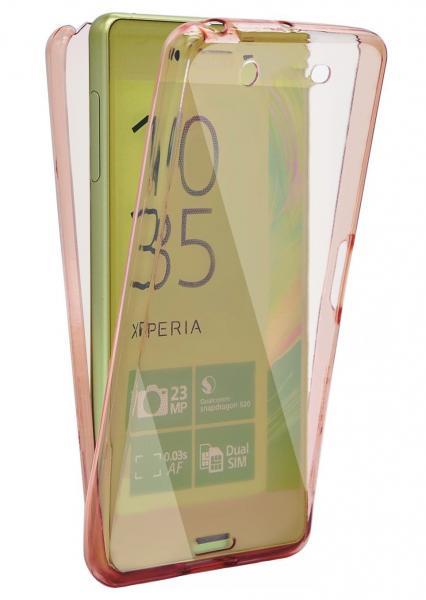Husa Full TPU 360 (fata + spate) pentru Sony Xperia XA, Rose gold transparent 0