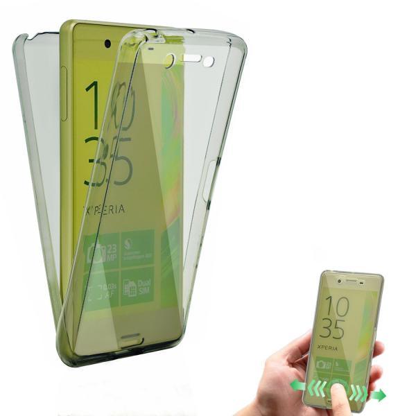 Husa Full TPU 360 (fata + spate) pentru Sony Xperia Z5, Gri transparent 1