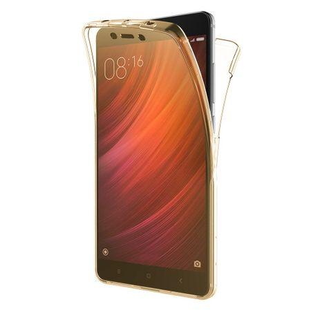 Husa Full TPU 360 fata + spate pentru Xiaomi Redmi 4X, Gold transparent