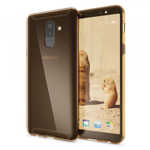 Husa Full TPU 360 fata + spate Samsung Galaxy A6+ (2018), Gold transparent [1]