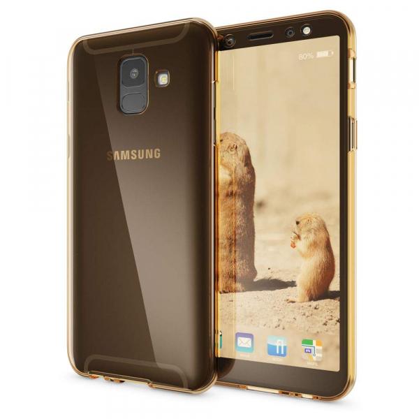 Husa Full TPU 360 fata + spate Samsung Galaxy A6 (2018), Gold transparent [1]