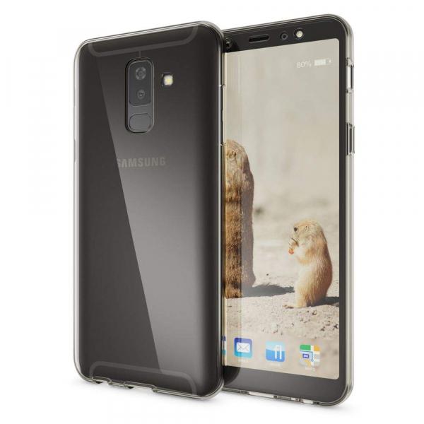 Husa Full TPU 360 fata + spate Samsung Galaxy A6+ (2018), Gri Transparent 1