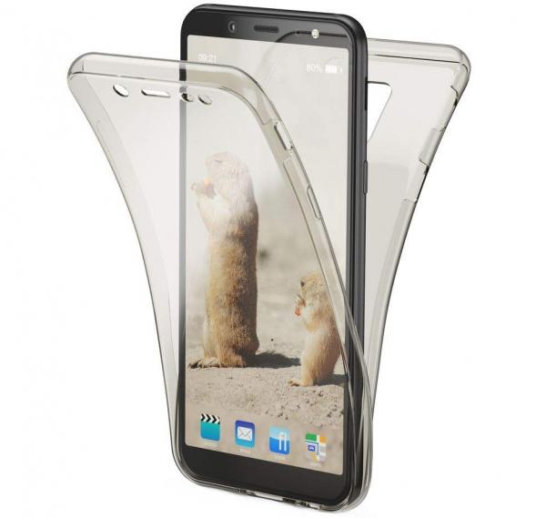 Husa Full TPU 360 fata + spate Samsung Galaxy A6 (2018), Gri transparent 0