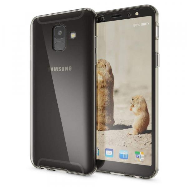 Husa Full TPU 360 fata + spate Samsung Galaxy A6 (2018), Gri transparent 2