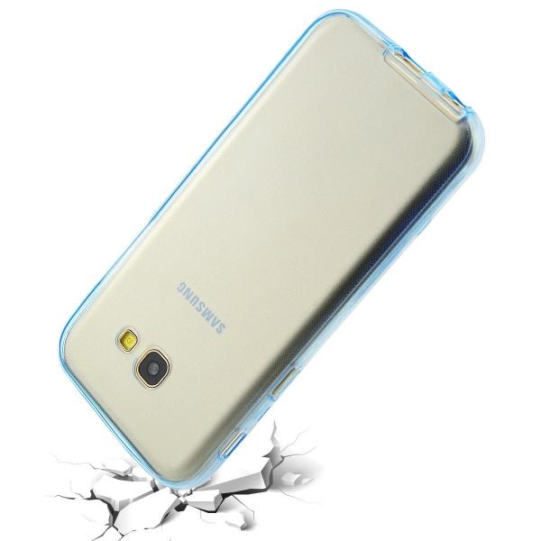 Husa Full TPU 360 (fata + spate) Samsung Galaxy A7 (2017), Albastru Transparent 3