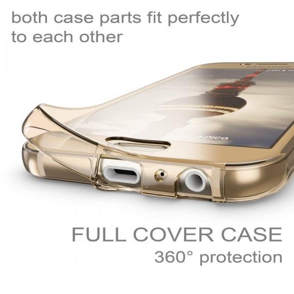 Husa Full TPU 360 fata + spate Samsung Galaxy A7 (2017), Gold transparent 1