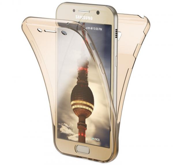 Husa Full TPU 360 fata + spate Samsung Galaxy A7 (2017), Gold transparent 0