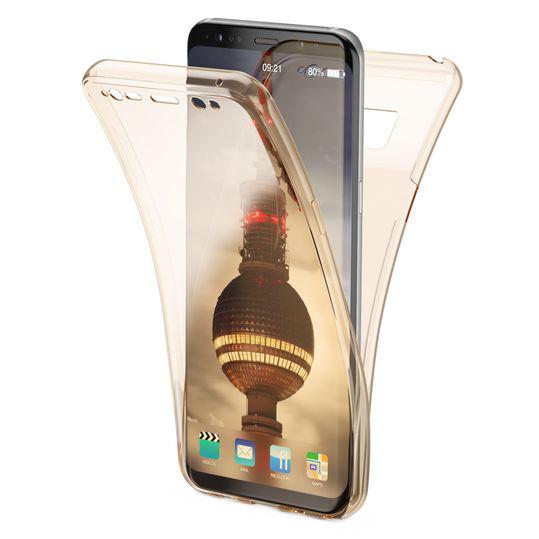 Husa Full TPU 360 fata + spate Samsung Galaxy A7 (2018), Gold transparent 0