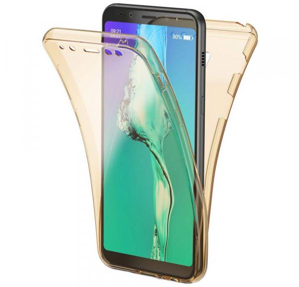 Husa Full TPU 360 fata + spate Samsung Galaxy A8 (2018), Gold transparent 0