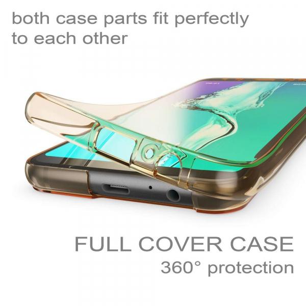 Husa Full TPU 360 fata + spate Samsung Galaxy A8 Plus (2018), Gold transparent 2