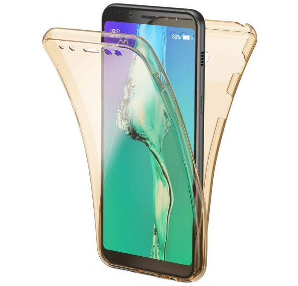 Husa Full TPU 360 fata + spate Samsung Galaxy A8 Plus (2018), Gold transparent 0