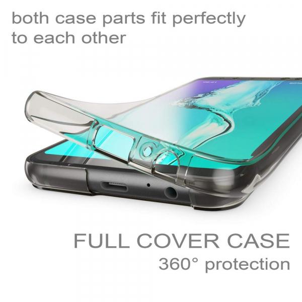 Husa Full TPU 360 fata + spate Samsung Galaxy A8 Plus (2018), Gri transparent 2